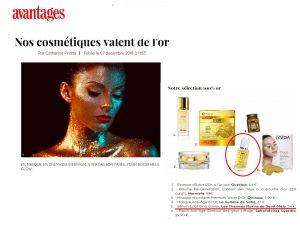 avantages : nos cosmétiques valent de l'or